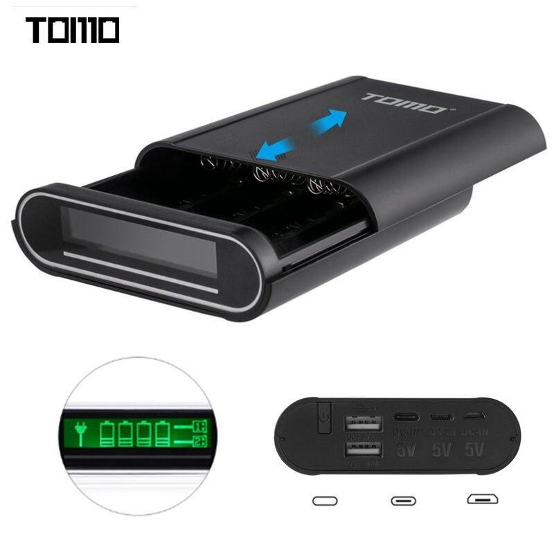 TOMO S4 4x18650 Li-ion Batterie DIY Smart Power Banque chargeur Case Box Bricolage avec 3 Interface D'entrée Distribution Pour Smart téléphone