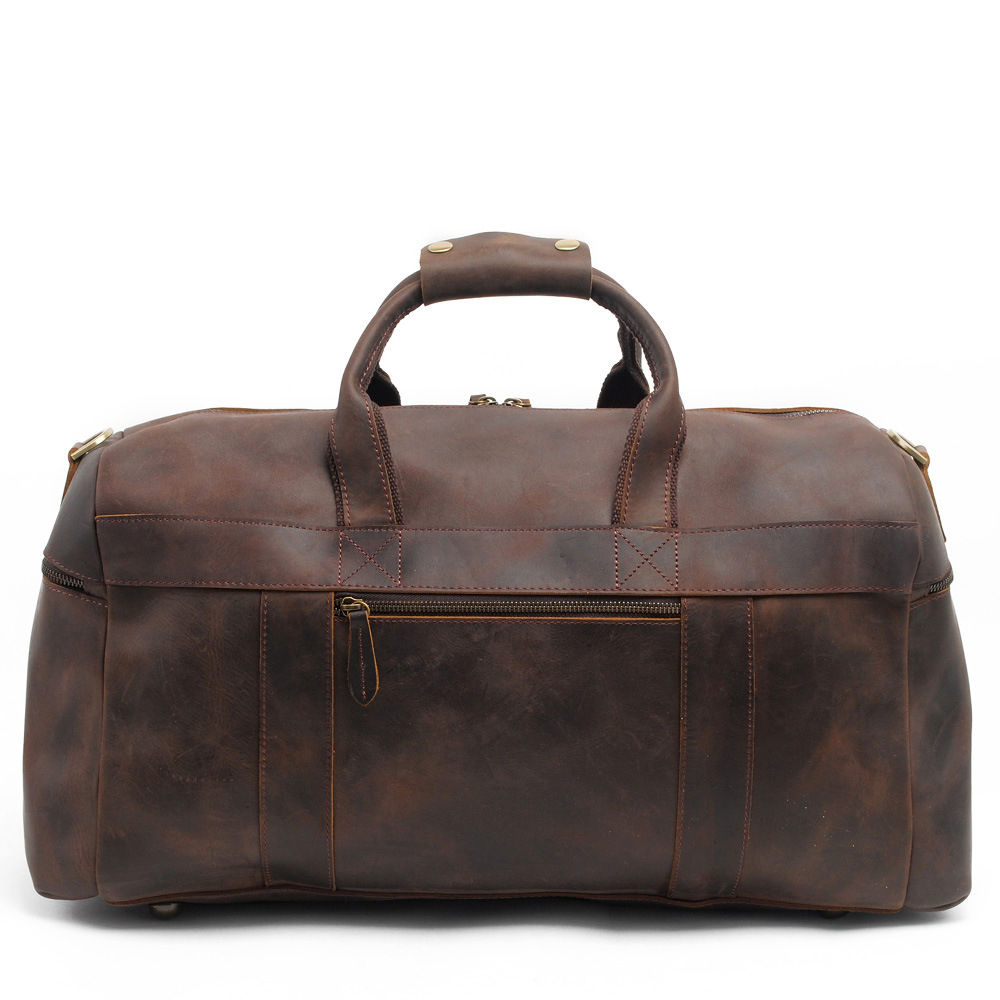 Men Genuine Leather Traveling Bag Casual Large-Capacity Waterproof Vintage Duffel Weekender Bag