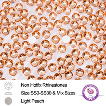 Mix Size SS3 To SS30 Light Peach Non Hotfix rhinestone For Nail Art Decorative Glass Crystals