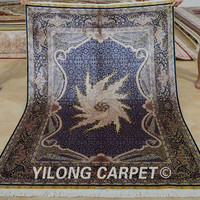 Yilong 4.5'x6.5' Tabriz silk carpet grey handmade exquisite hand knotted oriental rugs nyc (0165)