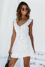 2019 New Summer Women Sexy Vintage Polka Dot Print Backless Dress Party A-Line Ladies Beach S-XL