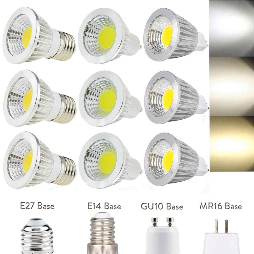 GU10 Led Dimmable Bulbs E27 E14 MR16 AC DC 12V LED COB Spotlight 6W 9W 12W Spot Light Bulb High Power Lamp AC 110V 220V