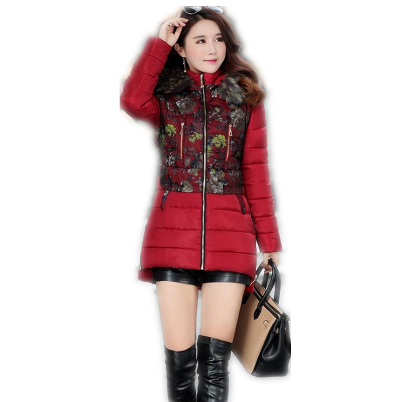 2019 Fashion Print Winter Women Down Cotton Medium-Long Jacket   Parka   Female Hooded Fur Collar Thicken Outerwear Warm   Parka   CQ584