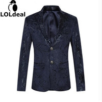Mens Casual Floral Blazer M-6XL 2017 New Fashion Brand Men Slim Fit Navy Blue Stage Jacket