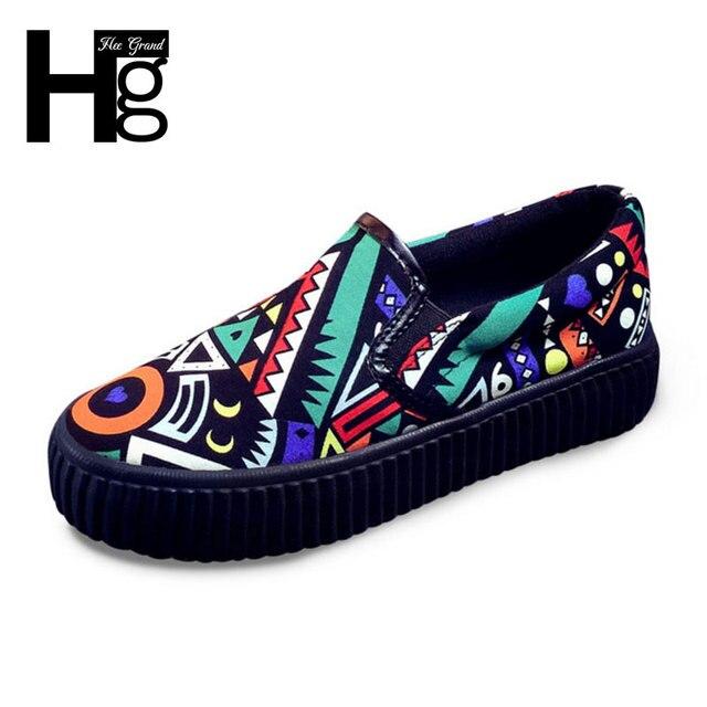 HEE GRAND 2017 Women's Canvas Shoes Colorful Graffiti Slip on Woman Platform Shoes Comfortable Flat Footwear XWF519