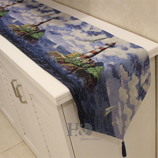 Mediterranean Sea Tower Tapestry Wedding Bed Table Runner Table Cloth  Dining Mat Coasters Slip Resistant