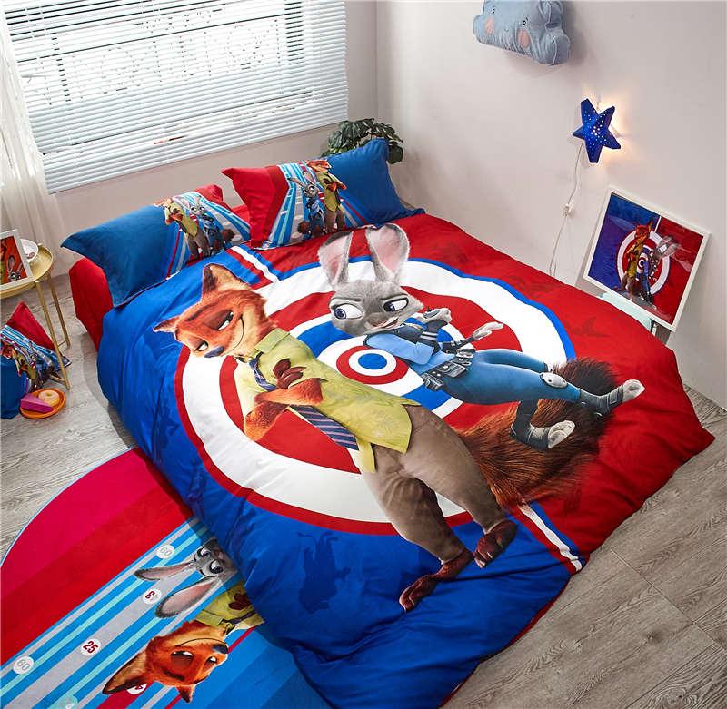 Disney Zootopia Printed bed sheet 3/4/5pcs sanding duvet cover set twin full/queen size cartoon girls boys children home decor