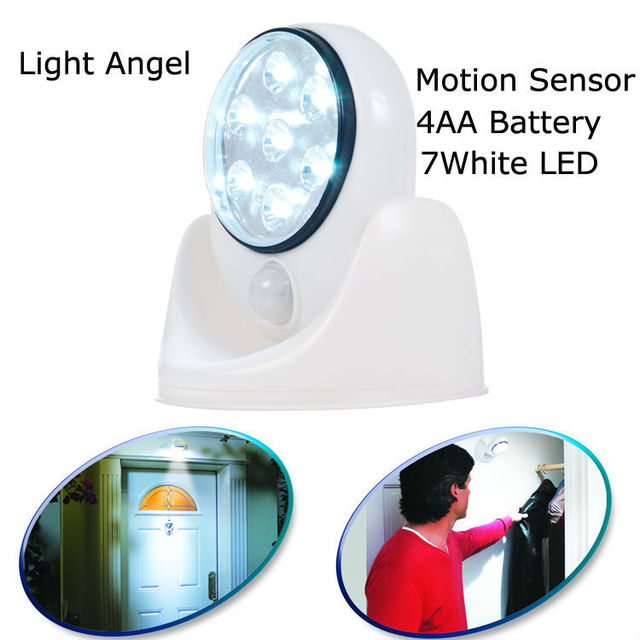 2setlot light angel battery operated cordless 7white led motion sensor activated led light swivel