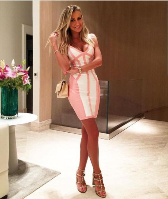 New Fashion Women Sexy Lace Mesh Pink Beige Rayon Bodycon Bandage Dress 2017 Knitted Designer Elegant Celebrity Party Dress