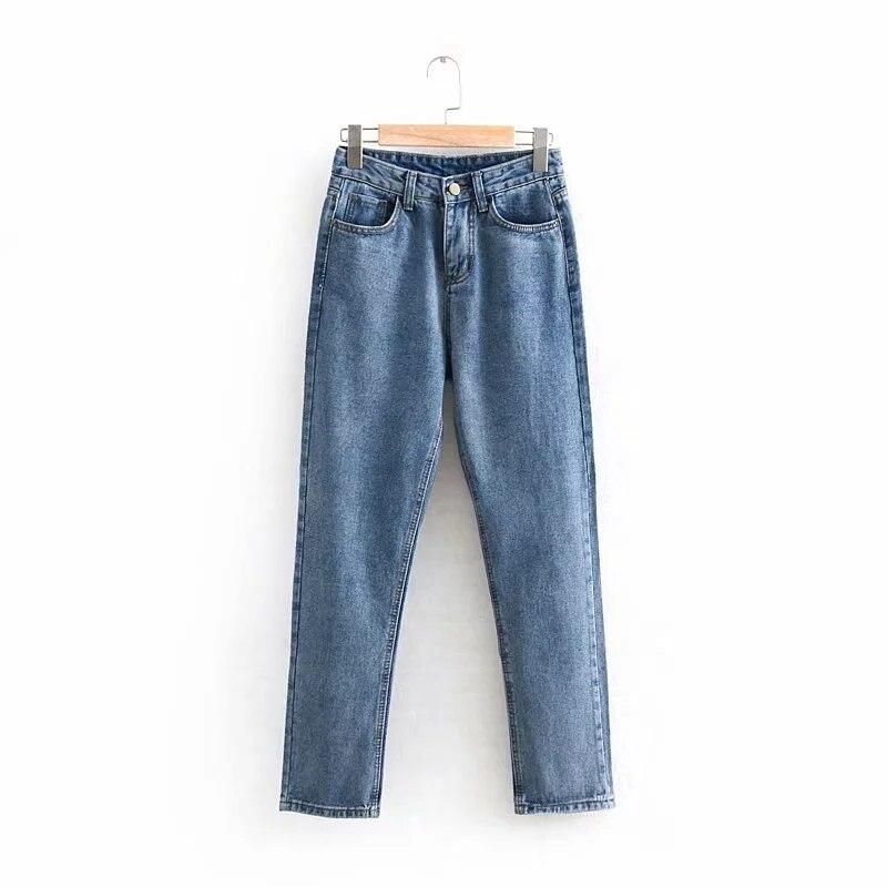 Slim Pencil Pants Vintage Jeans Womens Full Length Casual Loose Cowboy Straight Harem