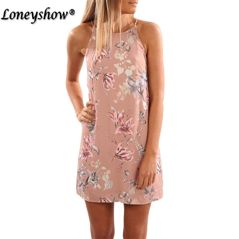 Loneyshow Women Dresses 2017 Print Summer Boho Beach Tunic Dress Bohemian Sundress T-Shirt Dress Sexy Mini Hippie Vestido