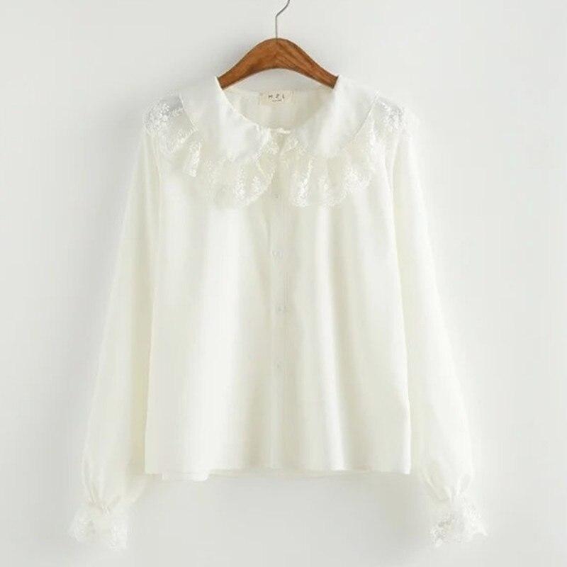 White lantern sleeve cotton shirts lace peter pan collar for White cotton shirt peter pan collar