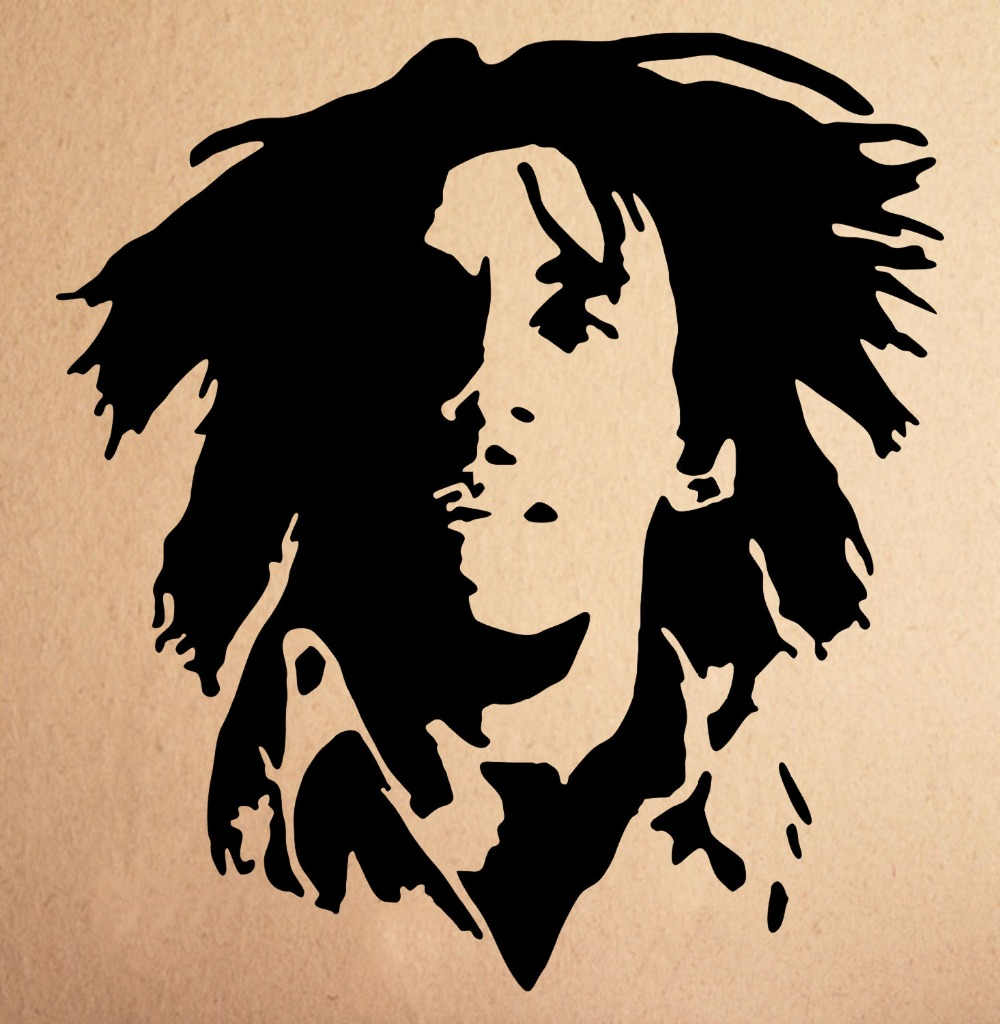Vinyle murale bob marley rasta wall sticker vinyle art fan art decal sticker home decor noir vert couleur facile amovible d289 dans stickers muraux de
