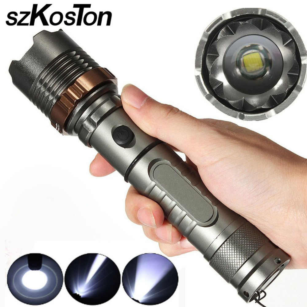 Tactical 20000LM T6 LED Flashlight Zoomable AA Focus Torch Light Lamp Waterproof