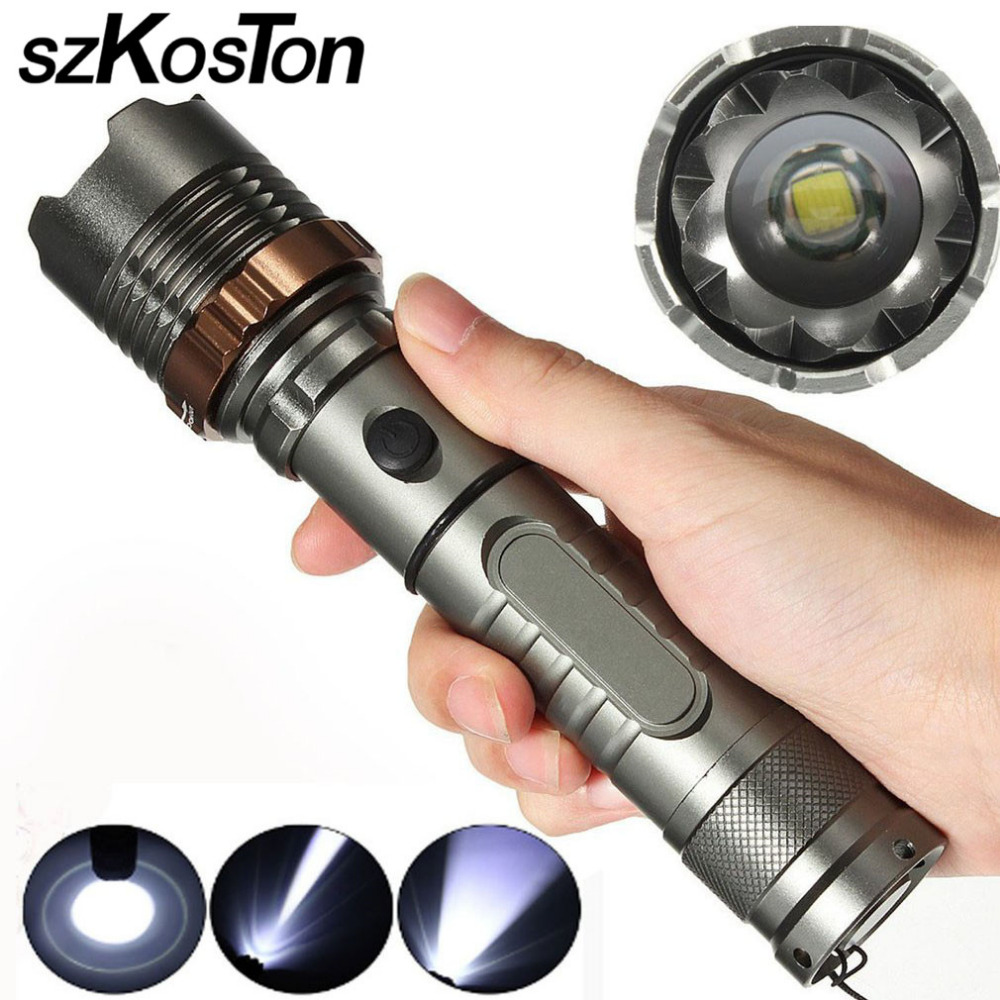 Tactical Military XM-L T6 20000lm LED Tactical Flashlight Torch Rechargeable Zoomable Waterproof Hunting Torch Flash Light