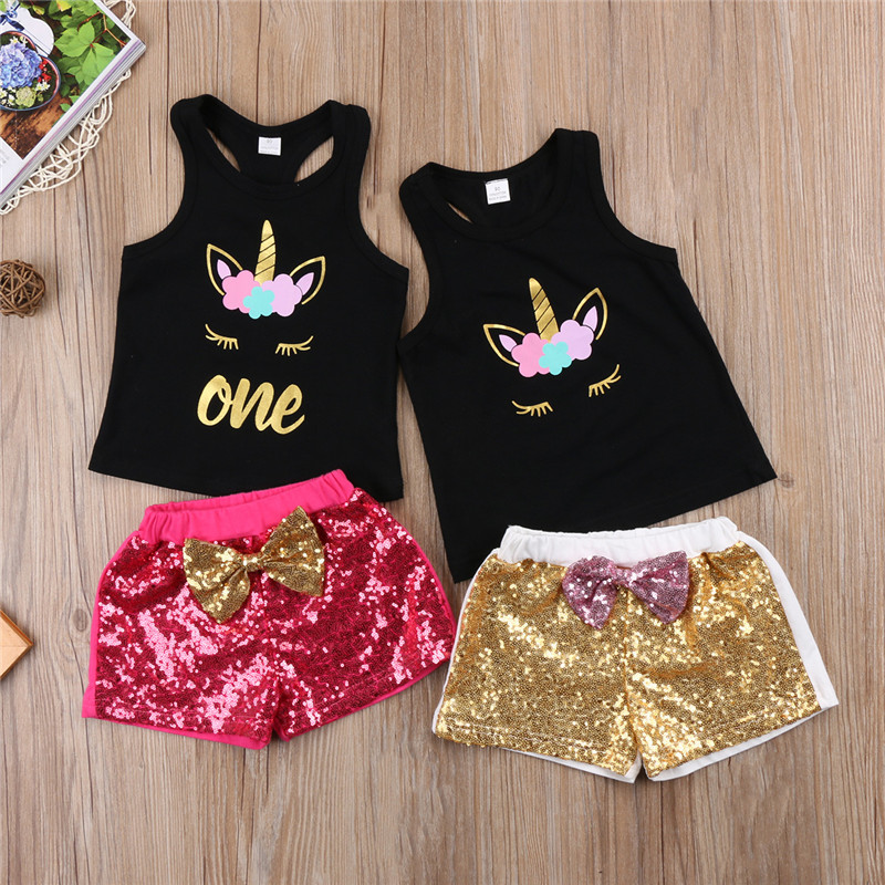 Summer Children Clothing Set 2Pcs Kids Baby Girls Unicorn Flower Tank Tops+Sequins Bow Shorts Pants 2018 New Baby Girl Clothes