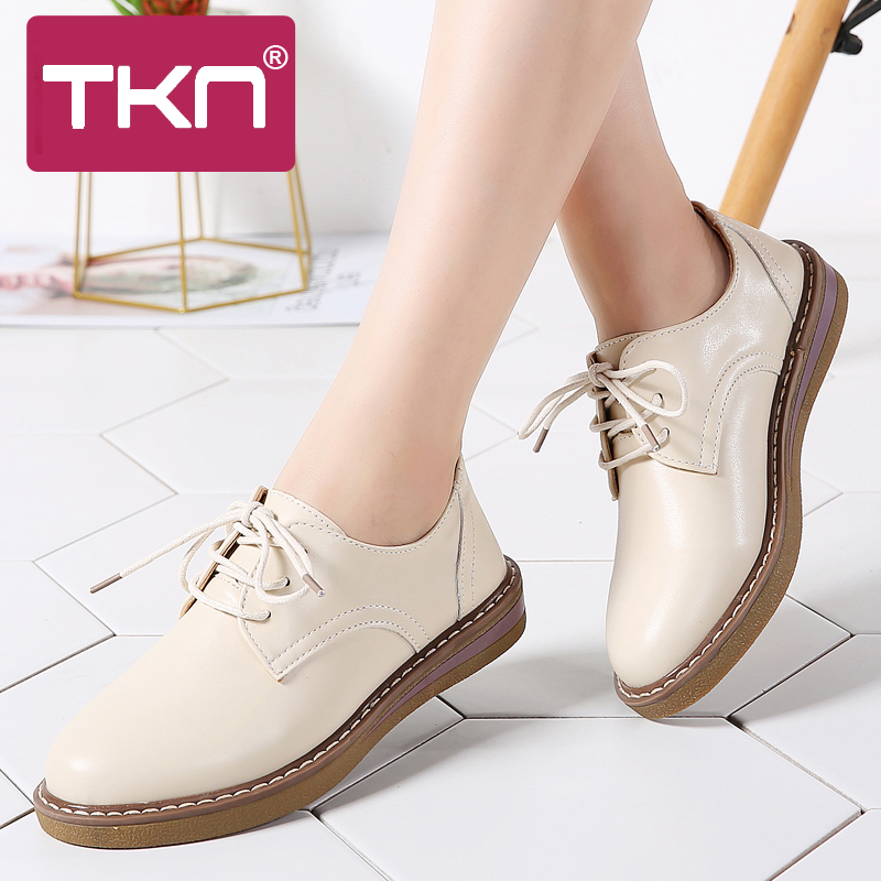 2019 Autumn Oxford Shoes For Women Genuine Leather Lace Up Flats Round Toe Chaussure Femme Moccasins Loafers Sneakers Woman 8516