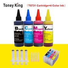 Toney King T0731 заправка чернильного картриджа для Epson T0731N стилус CX7300 CX8300 CX3900 картриджи+ принтер чернил Заправка комплект 4 цвета