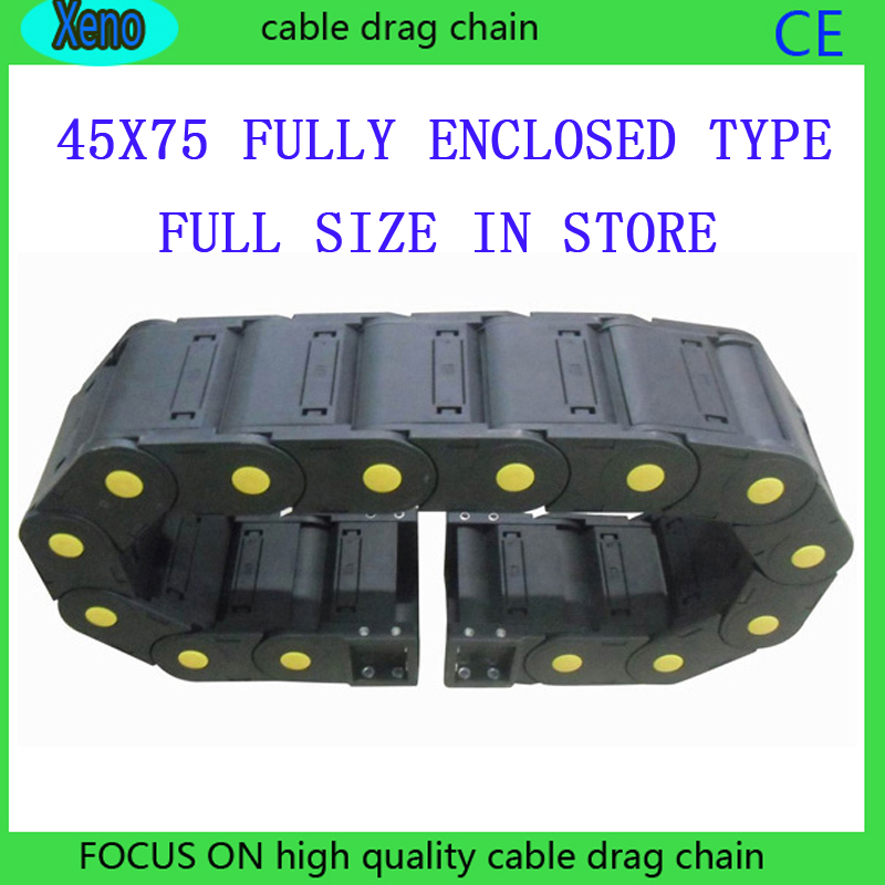 Free Shipping 45x75 10 Meters Fully Enclosed Type Plastic Cable Drag Chain Wire Carrier 18 x 50mm 1m semi enclosed type drag chain wire carrier black