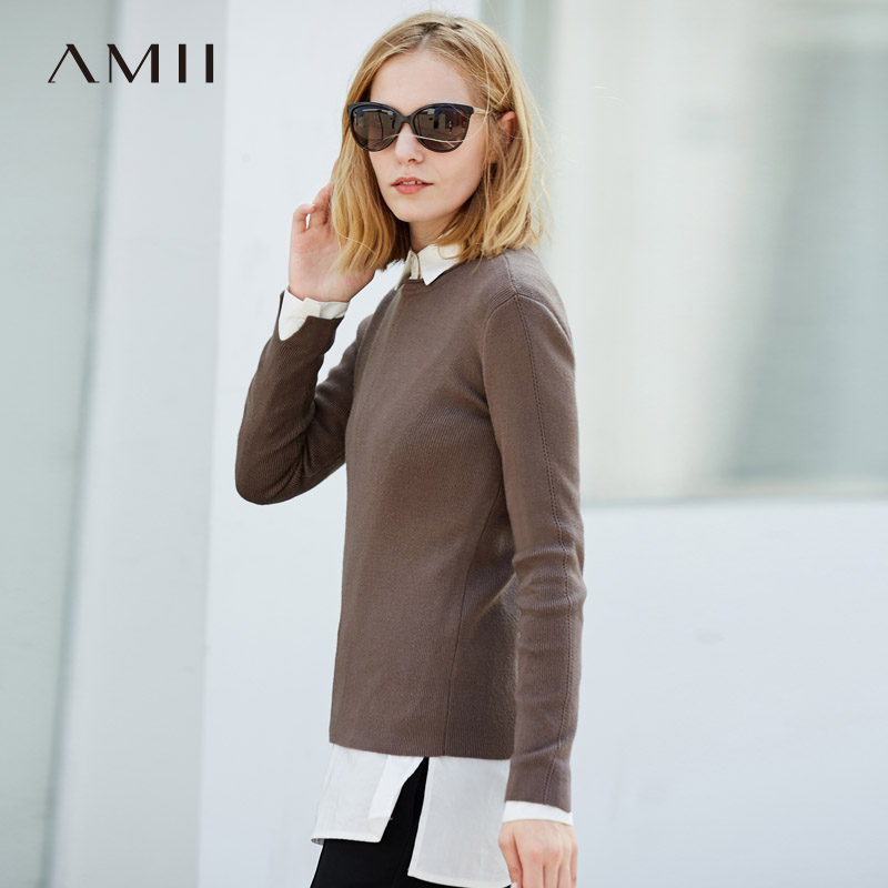 Amii Minimalist Chic O Neck Sweater Women Autumn 2019 Causal Solid Plus Szie  Basis Female Winter Short Sweater Pullovers