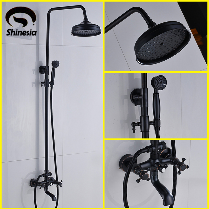 New Oil Rubbed Bronze Bathtub Shower Set Mixer Faucet 8 Rain Shower Head with Handheld shower
