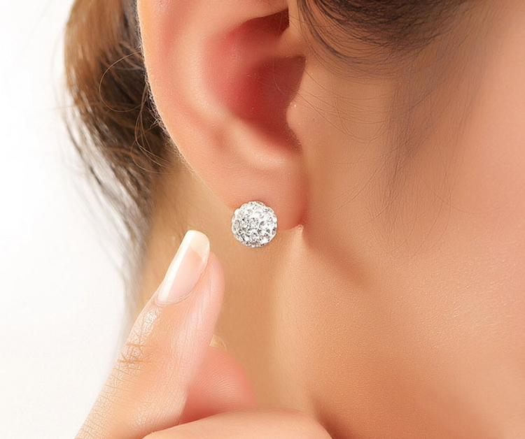 Real 925 Sterling Silver Sparkle 10mm Round Shambala Austian Crystal Ball Stud Earrings For Women Wedding Party Fashion Jewelry In From