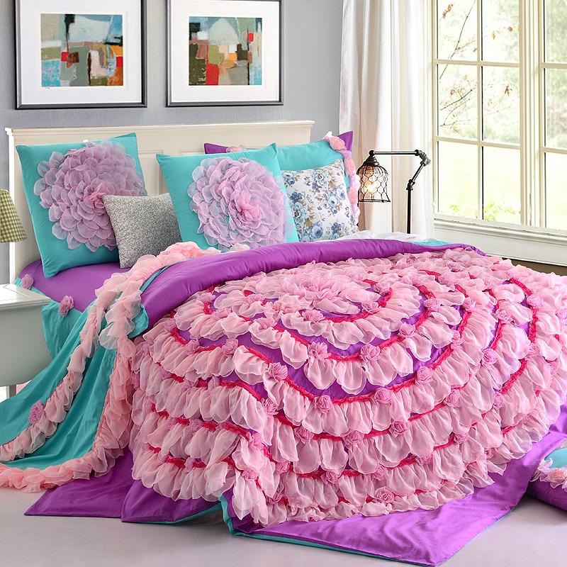 Designer Handmade Lace Flower Art Duvet Cover Teen Girl