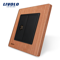 Natural Life Cherry Wood Panel 1 Gang TV Socket Outlet VL C791V 21 Without Plug Adapter