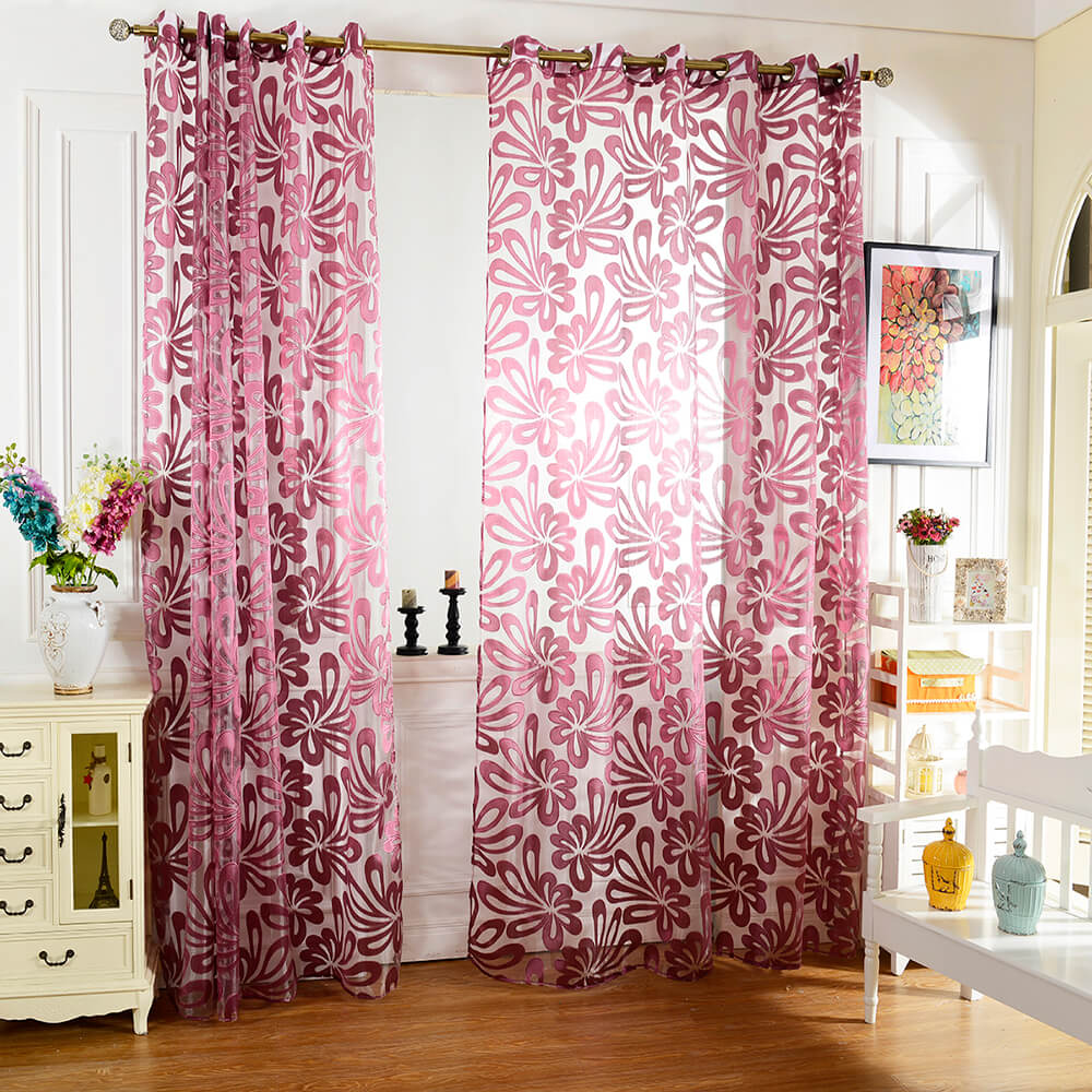 Printed curtains living room - European Flower Printed Tulle Curtain Window Screening Treatments Living Room Children Bedroom Sheer Curtain 100 X
