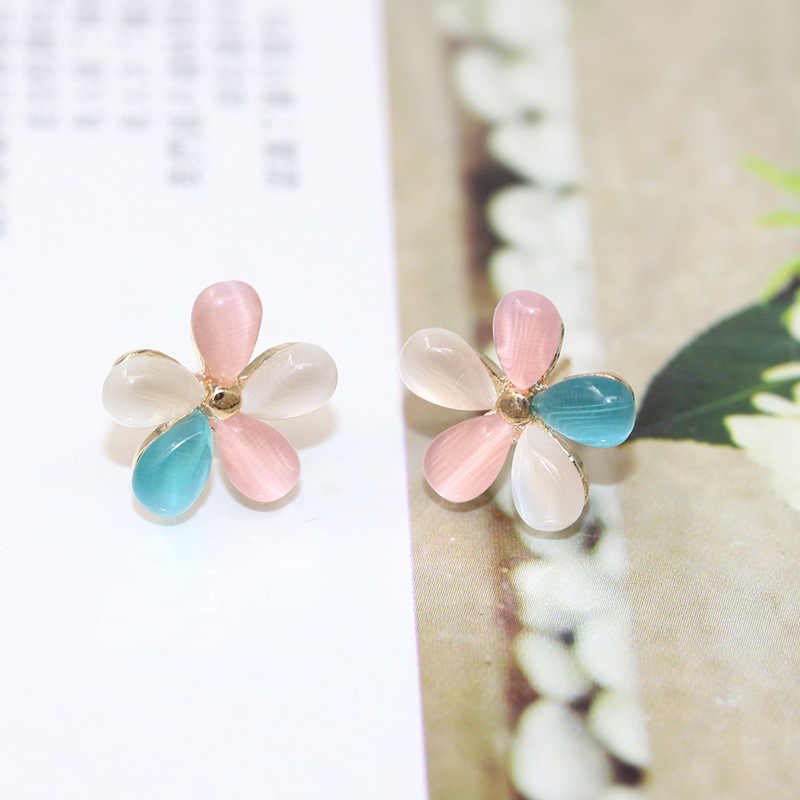แมวตาหินดอกไม้ต่างหูRhinestonesดอกซากุระต่างหูสตั๊ดสำหรับผู้หญิงแฟชั่นเครื่องประดับหูPendientes
