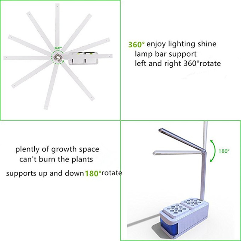 US $47 98 30% OFF|CLAITE Indoor LED Grow Lights Herb Hydroponics Plants  Garden Kit Lamp Full Spectrum Adjustable Lever Planting Plant Lamp-in LED  Grow