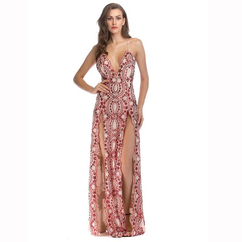 Rouge paillettes Spaghetti sangle profonde col en V dos nu ouvert Split Sexy femmes robes de soirée robes longue robe élégante Clubwear