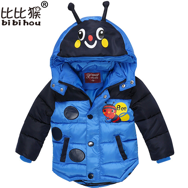 Bibihou Baby Boys Jacket 2017 Winter Jacket For Boys Bees Hooded Down Jacket Kids Warm Outerwear Children Clothes Infant Coat