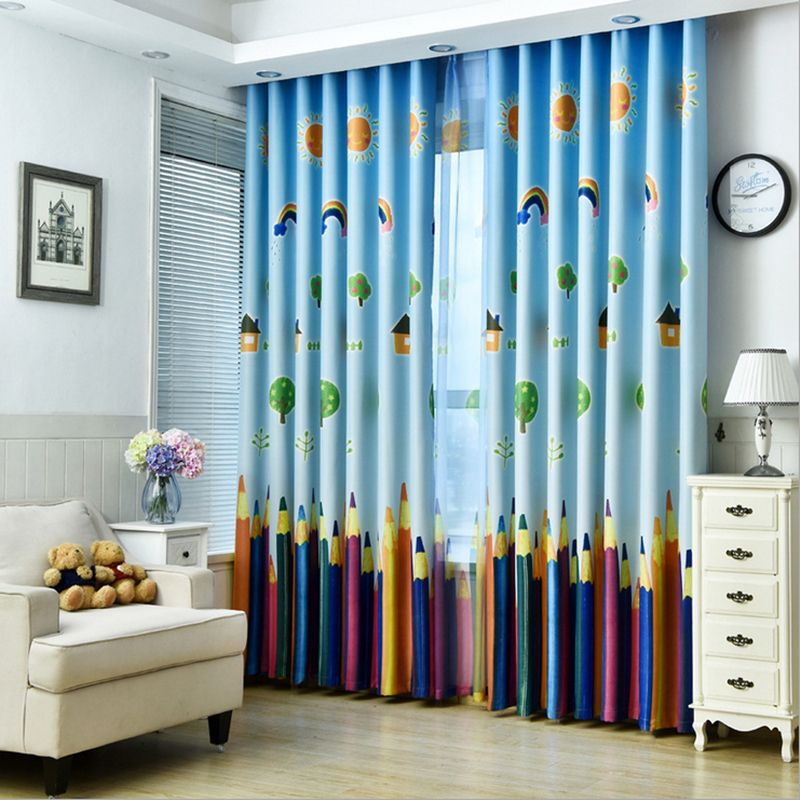 US $9.69 49% OFF|New Curtains Blackout Curtain Fabric Pencil Pattern Boys  Girls Kids Room Curtains Bedroom Curtains Full Light Shading-in Curtains ...
