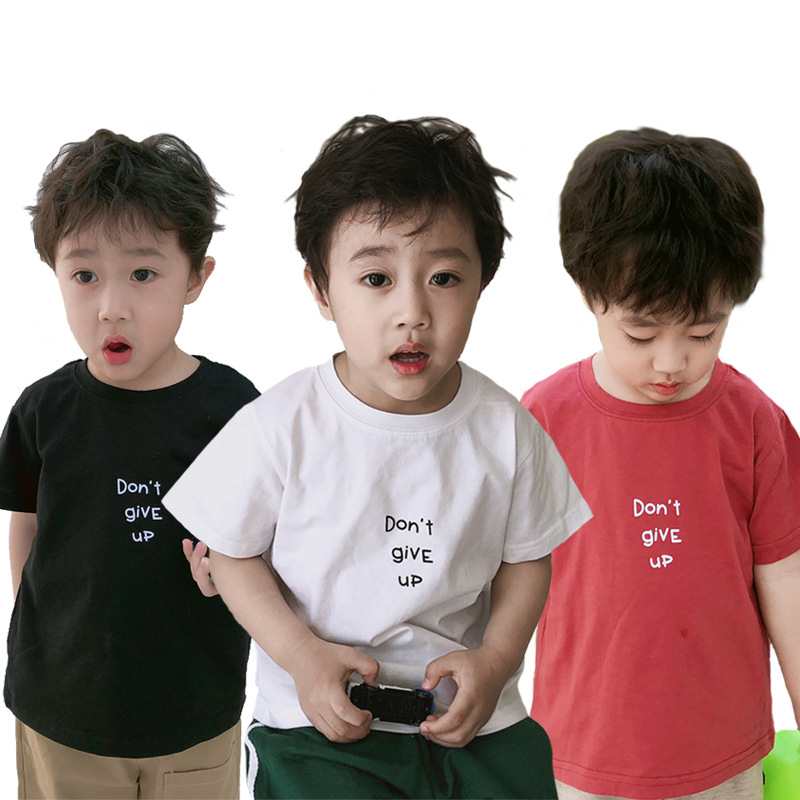 T-Shirt Short-Sleeves Children's-Wear Solid-Color Cotton Summer Letter Loose