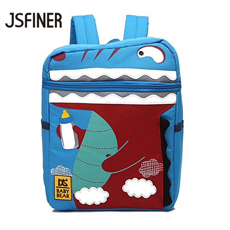 JSFINER Lovely Childrens Schoolbag Nylon Cartoons Kindergarten Schoolbag Printing Animale Bag for Primary School Students
