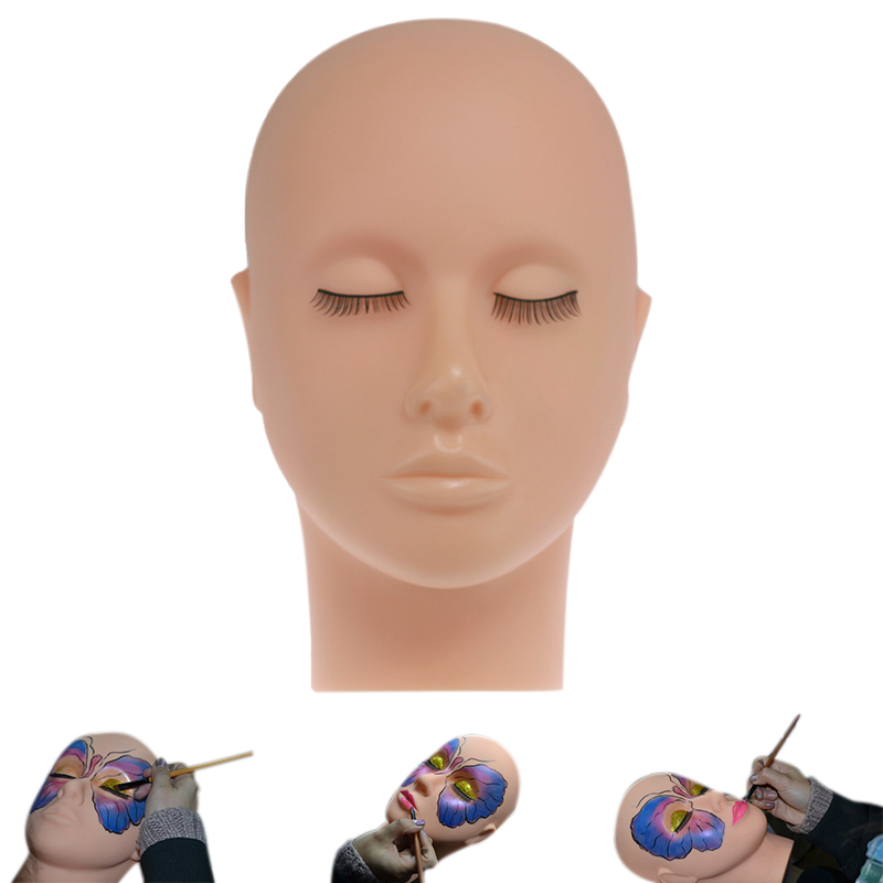 High Quality Mannequin Flat Head Silicone Eye Face Make-up Practice Cosmetics Model Massage Training