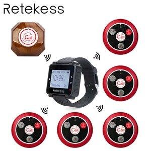 Image 1 - RETEKESS kablosuz çağrı sistemi restoran çağrı Beeper 1 izle alıcı + 1 düğmesi mutfak + 5 çağrı düğmesi müşteriler için