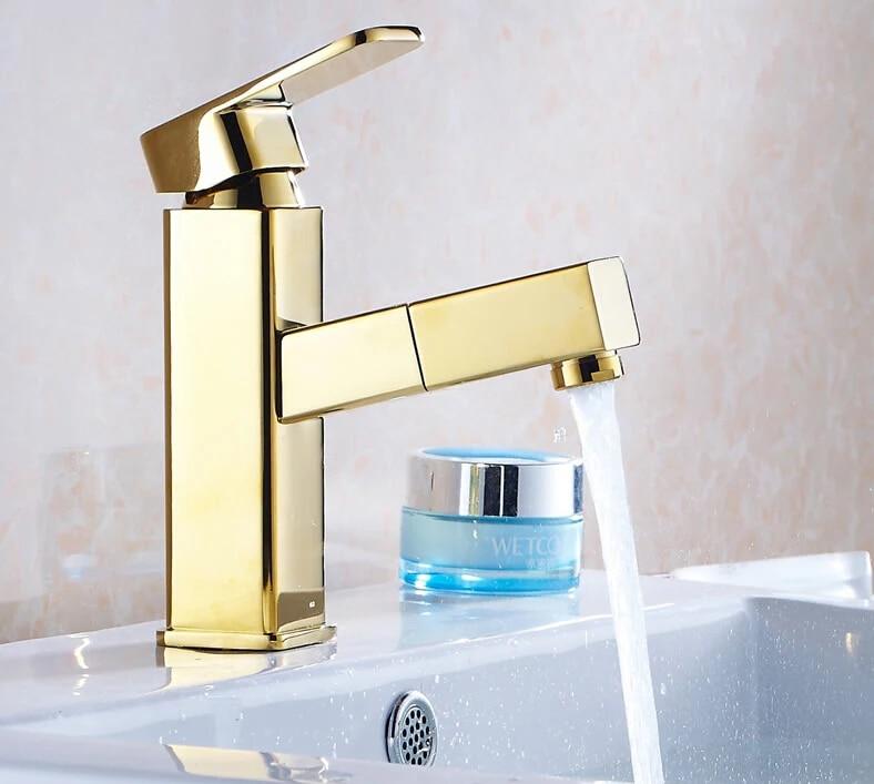 Материал высокого качества латунь Chrome горячей и холодной Однорычажный кран для раковины ванной комнаты смеситель с вытащить душем