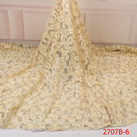 Glitter Fabric For Wedding Dress Nigerian Sequin French Net Lace Fabric Embroidery African Lace Fabrics QF2707B 6