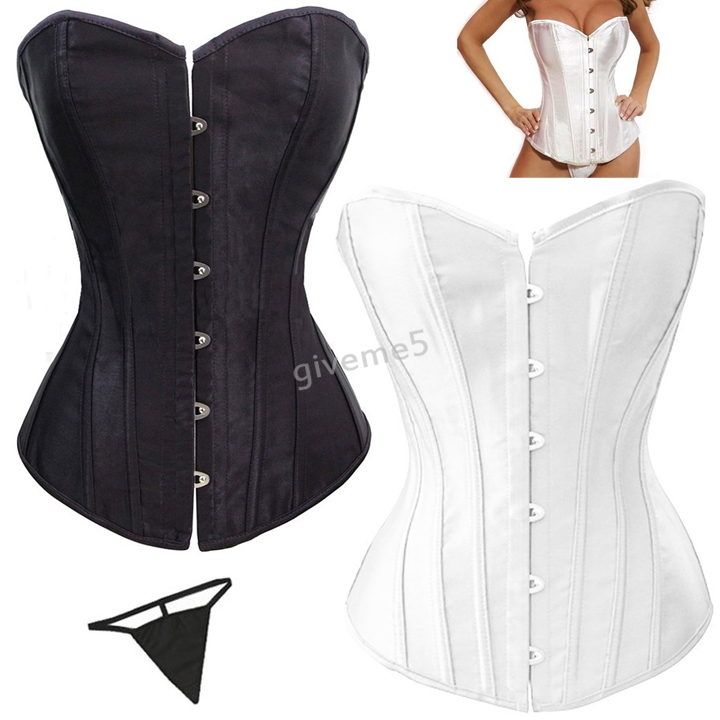 HOT Sexy Corselet Women Black White Bone Bustier Corset With Bow + G string Set Lingerie S-4XL Free Shipping #4