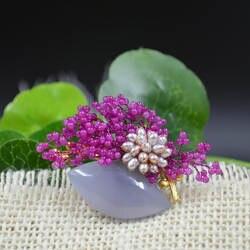 Amxiu индивидуальные цветок брошь и кулон натуральный синий халцедон нефрита и жемчугом Роскошные Для женщин женские вечерние аксессуары
