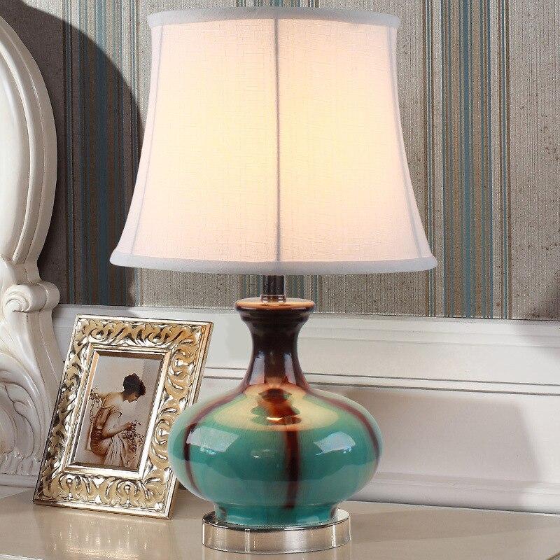 YOOK 33*56 см средиземноморский синий Керамика настольная лампа Европейский Стиль Настольная лампа для Спальня ночники современный светодиодн...