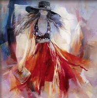 Dipinto a mano vestito da estate i-donne pittura a olio di arte della parete-moderna di arte della tela immagini a parete per soggiorno