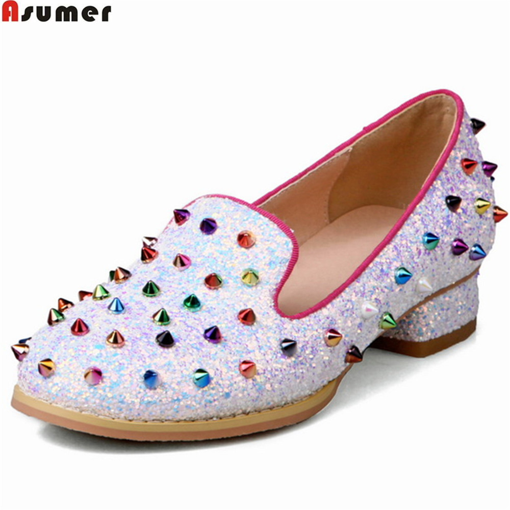 ASUMER black white fashion spring autumn ladies single shoes round toe shallow casual rivet bling women low heels shoes size 46 asumer white spring autumn women shoes round toe ladies genuine leather flats shoes casual sneakers single shoes