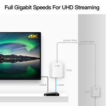 1Pair Tenda PH3 1000Mbps Powerline Network Adapter, AV1000 Ethernet PLC Adapter,Wireless WiFi Router Partner, IPTV, Homeplug AV2