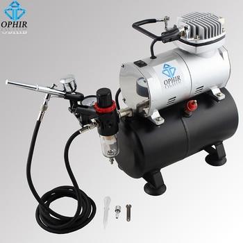 OPHIR 0.3 mm Airbrush Gun Cake Decorating Airbrush Kit Air Tank Compressor for Nail Art Model Hobby T-shirt Paint _AC090+AC004A