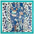 2016new оптовая продажа женщины 100% шелковый шарф леопардовым принтом синие мода марка шелковый scarfscheap большой шелковый пашмины shawls130 * 130 см
