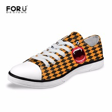 FORUDESIGNS Casual Low Women Fashion Canvas Shoes Funny Lips Printed Flats Vulcanized Shoes for Ladies Women's Leisure Shoes