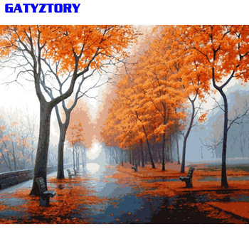 GATYZTORY Wald Landschaft DIY Malerei Durch Zahlen Bild Wand Kunst Leinwand Malerei Einzigartige Geschenk Für Wohnzimmer Kunstwerk 40x50 cm